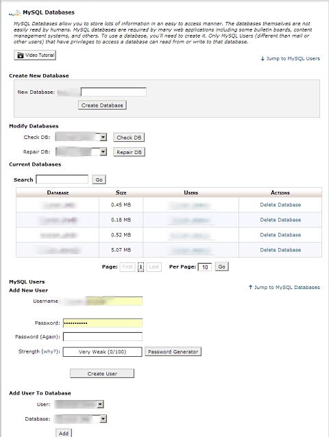 cPanel Create Database